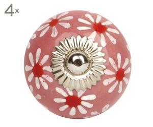 set di 4 pomelli in ceramica flower rosa - d 4 cm