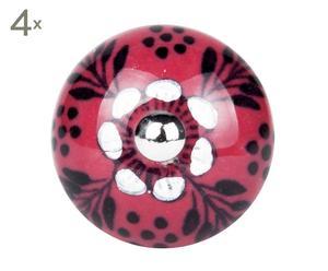 set di 4 pomelli in ceramica erin ciliegia - d 4 cm
