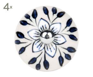 set di 4 pomelli in ceramica bistrot nero - d 4 cm