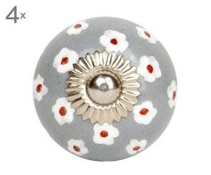 set di 4 pomelli in ceramica francine grigio - d 4 cm