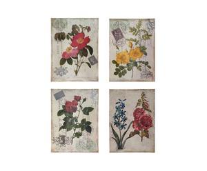 Set di 4 DECORAZIONI DA PARETE SU TELA CON FIORI - 45x61x3 cm