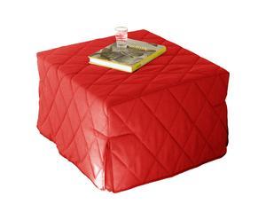 Pouf Letto in cotone trapuntato Coraline rosso - 76x72x45 cm