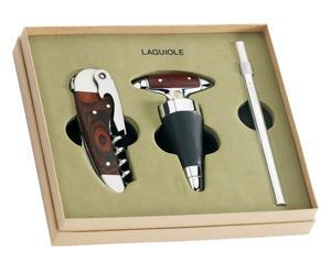 Set regalo con 1 apribottiglia, 1 tappo e 1 termometro da vino - con scatola