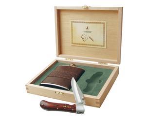 Set di 1 fiaschetta e 1 coltellino richiudibile - con scatola