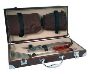 Set da barbecue di 1 guanto, 1 grembiule e 3 attrezzi - con valigetta
