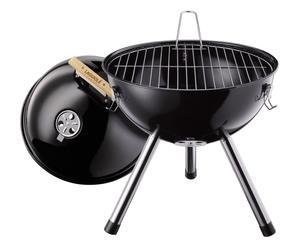 Barbecue portatile con griglia e coperchio in metallo - 36,5x35 cm
