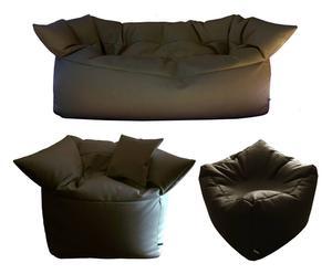 Set salotto con pouf, divano e poltrona Formosi - Testa di moro