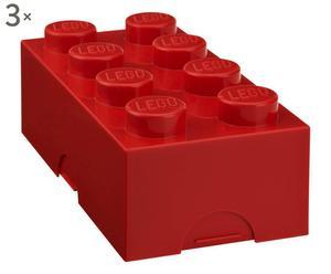 Set di 3 scatole in plastica Lego rosso - 7.5x10x20 cm