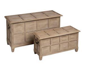 set di 2 cassapanche in legno olivia - max 92x52x38 cm