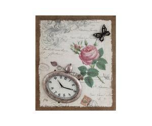 Orologio da parete in metallo su pannello in tela Butterfly - 50X60 cm