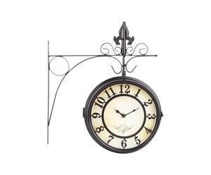 Orologio da parete in metallo Vintage nero - 20x9 cm