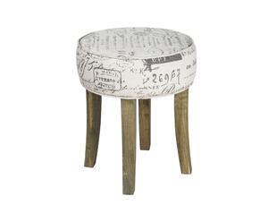 Sgabello in legno con seduta in tessuto Stamp - 36X43 cm