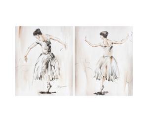 Set di 2 stampe su tela con telaio in legno Dancer - 50X60 cm