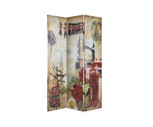 Separe' reversibile in tela e legno Paris - 120x180 cm