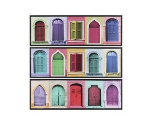 Set di 3 stampe su tela con telaio in legno Mistery Door - 30x90 cm