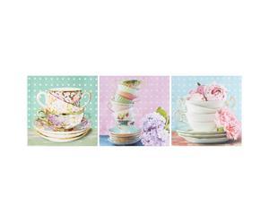 Set di 3 stampe su tela con telaio in legno Cup Cake - 28x28 cm