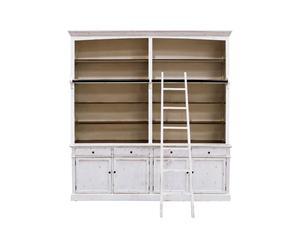 Libreria in legno di betulla con 4 ripiani e scala Amelie - 230x40x240 cm