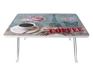 Tavolino in metallo con ripiano in plastica EIFFEL - 60X40X29 cm