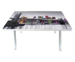 Tavolino in metallo con ripiano in plastica New York - 60X40X29 cm