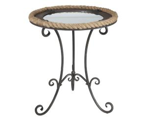 Tavolino da caffe' con specchio in metallo - 61X71 cm