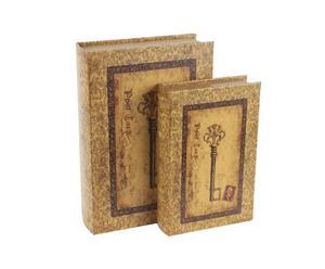 Set di 2 scatole in cuoio Key