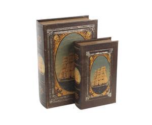 Set di 2 scatole in cuoio Sea