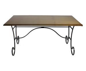 Tavolo in metallo e legno Flower - 160X90X75 cm