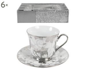 Set di 6 tazze te' in porcellana con piattino Silver