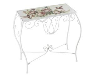 tavolino consolle in metallo e betulla roses - 64x62x31 cm