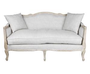 divano a 3 posti in betulla e cotone margareth - 155x90x70 cm