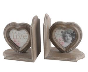 set di 2 fermalibri in legno live - 17x19x12 cm