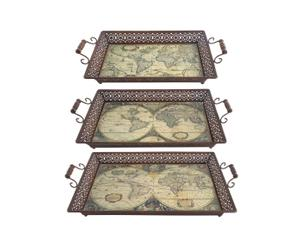 Set di 3 vassoi in metallo Globe