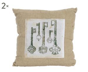 Set di 2 cuscini in cotone Keys - 40x40 cm