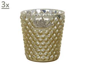 Set di 3 portatealight in vetro Dalia oro - 4x7 cm