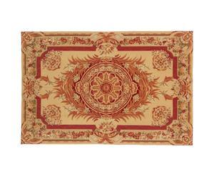 tappeto in pura lana NEEDLE POINT deco mattone/beige - 183x122 cm
