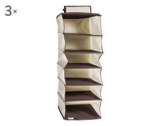 set di 3 portascarpe in tnt a 6 RIPIANI ecru - 30x30x90 cm