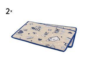 set di 4 tovagliette americane kitchen blu - 33x48 cm