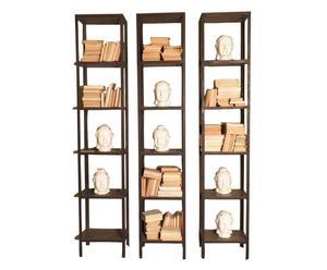 Libreria/colonna in ferro e legno a 5 ripiani - H 260 cm