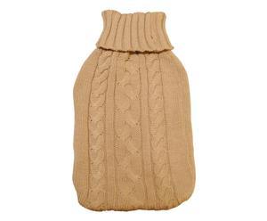 Porta borsa dell'acqua calda in lana marrone - 20x36 cm