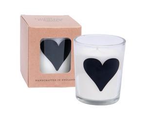 Candela al palissandro con bicchiere in vetro - cuore
