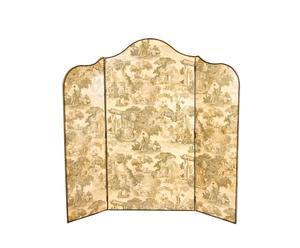 separè a 3 sezioni in ciliegio e tessuto Jouy - 192x184 cm