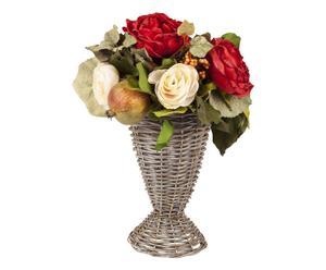 Composizione di fiori artificiali con vaso - 22x35 cm