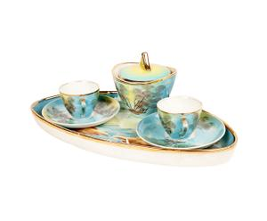 Set da caffe' con 1 vassoio, 2 tazzine con piattini e 1 zuccheriera in ceramica