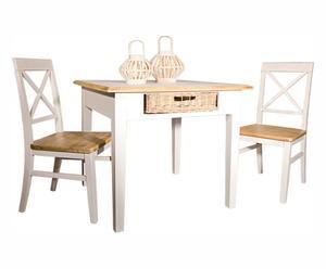 tavolo in paulonia con cassetto Toscana - 90x90x78 cm