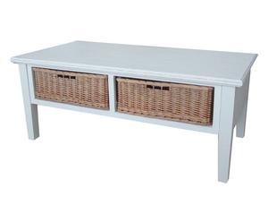 Tavolino in paulonia con 2 cesti Toscana - 120x60x49 cm