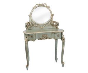 Tavolino beauty in legno con specchiera Barocco - 84x132x43 cm