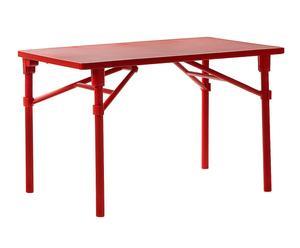 tavolo in fiber glass e piano in dureltop zic rosso - 118x73x72 cm