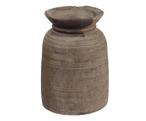 vaso decorativo in legno marrone bille - d 15 cm