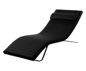 Chaise longue in ECOPELLE nera e metallo - 170x80x30 cm