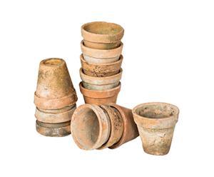 Set di 12 vasetti in terracotta anno 1970 - H 8,5 cm